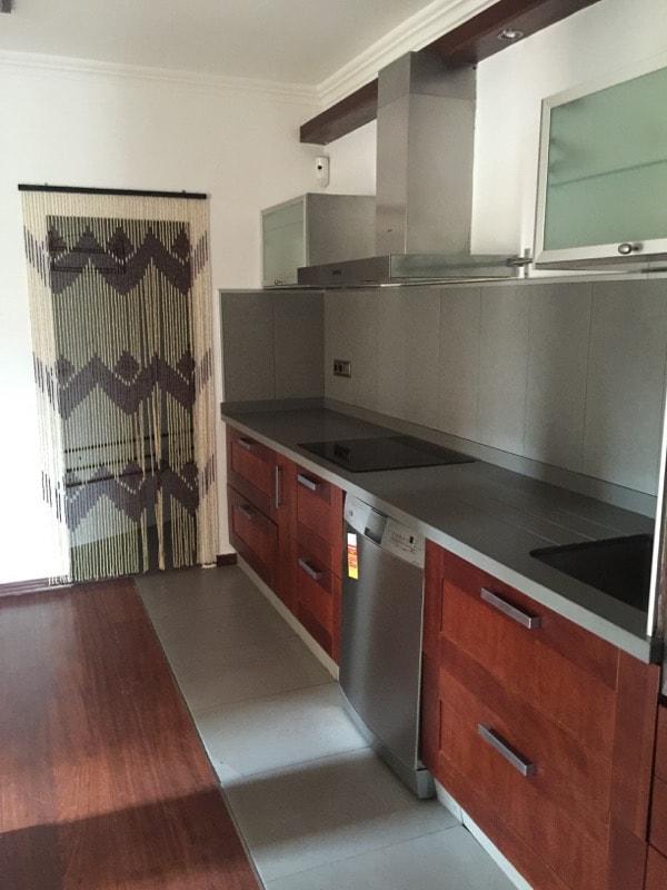 New kitchen with dark cabinets