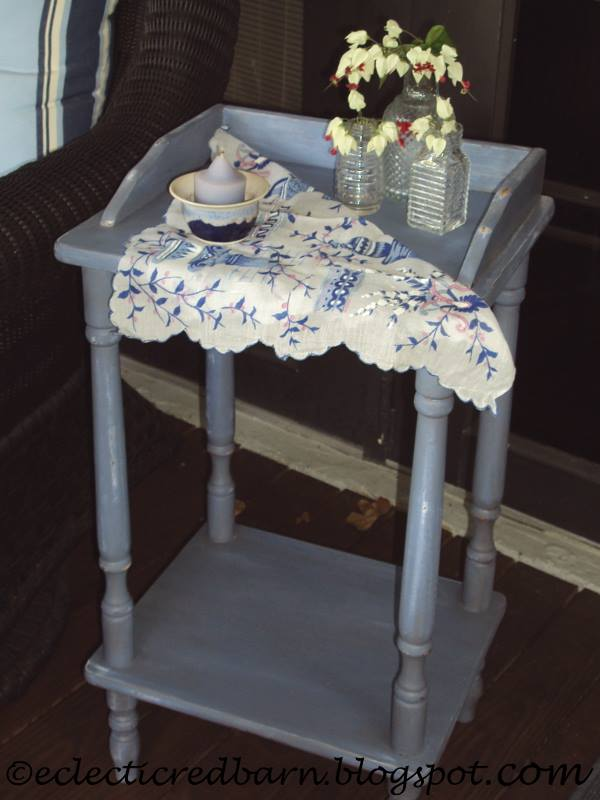 Chalk painted laminated side table