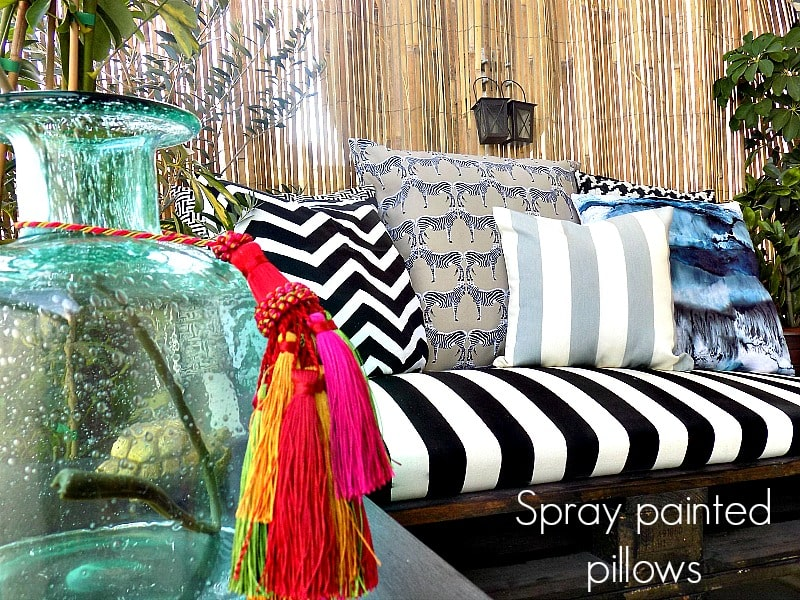 spray painted pillows cover