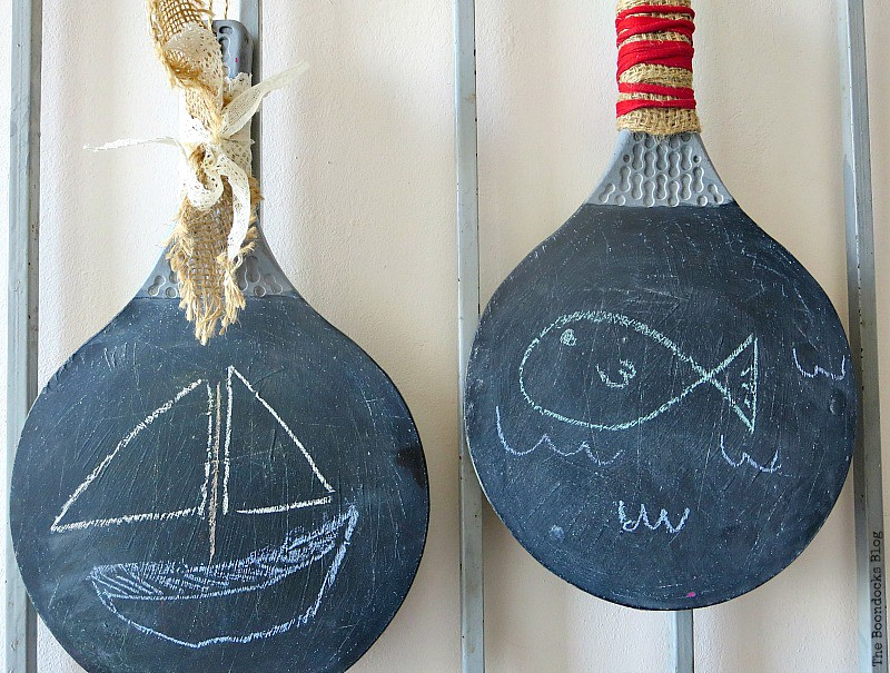 Two Uses Tuesday 91  ·  A link up party showing your DIY, crafts, recipes and more  ·  Feature: old ping pong rackets repurposed into chalkboards