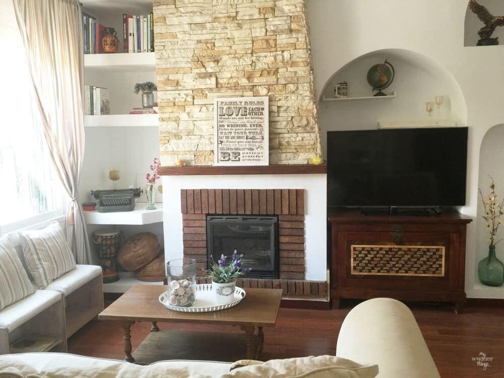 Salón y tuneo de la chimenea