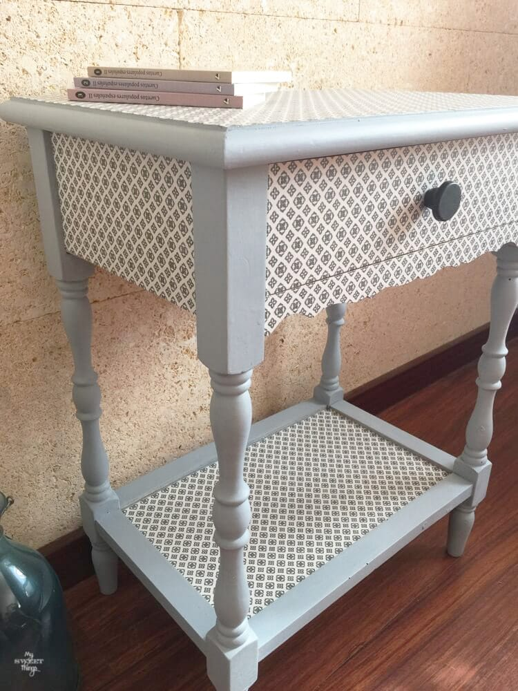 Transform furniture with decoupage and milk paint - I used Slate and Snow White OFMP