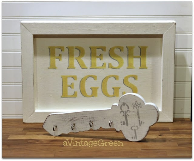 finished Fresh Eggs and Key holder signs