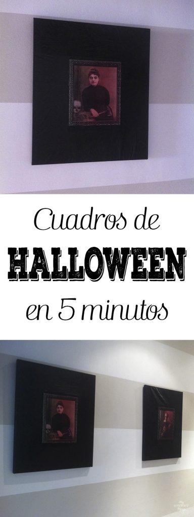 Cuadros de Halloween en 5 minutos - Un DIY que puedes hacer con niños como parte de la decoración para Halloween · Via www.sweethings.net