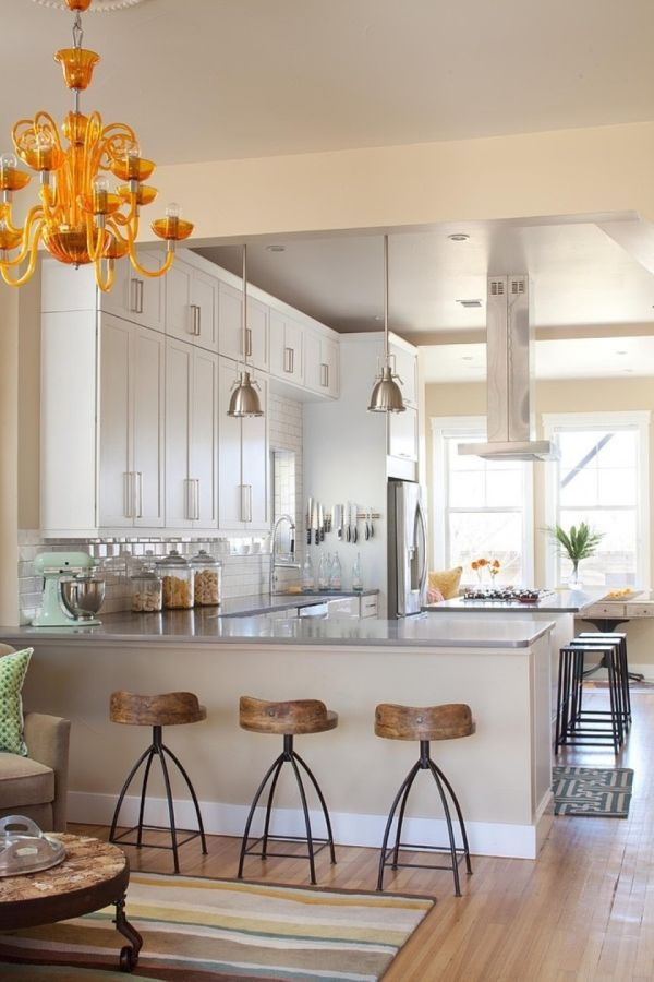 Dreamy kitchens with lovely barstools  ·  Classic Industrial Stools for Bar    ·  Open floor plan kitchen   ·  Via www.sweethings.net