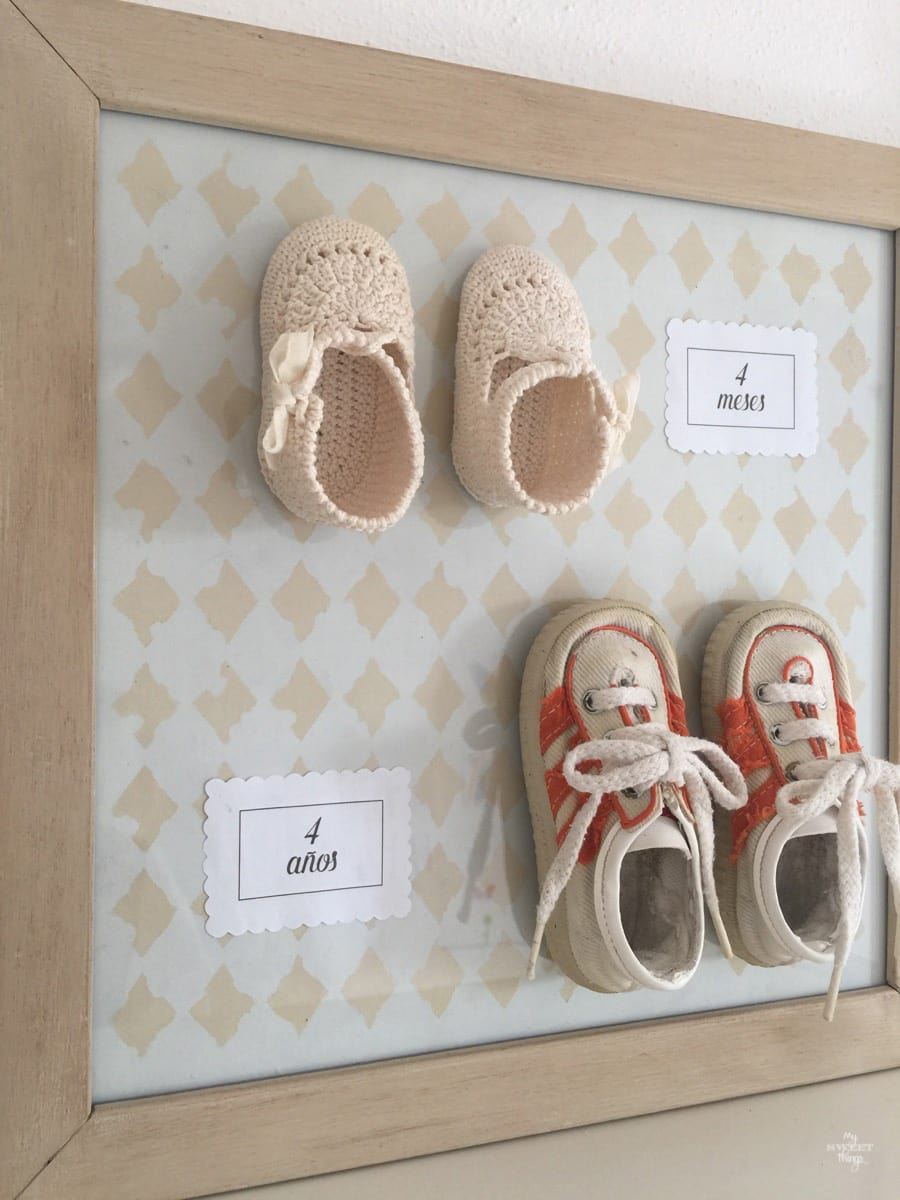 Upcycling baby shoes as a Valentine's Day gift. An easy DIY that can be used as decor too · Via www.sweethings.net
