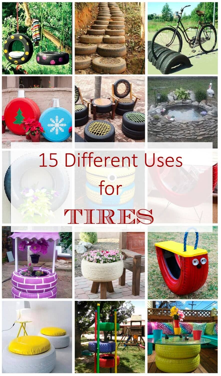 15 Different Uses For Tires · Some easy ideas to recycle old tires · Via www.sweethings.net