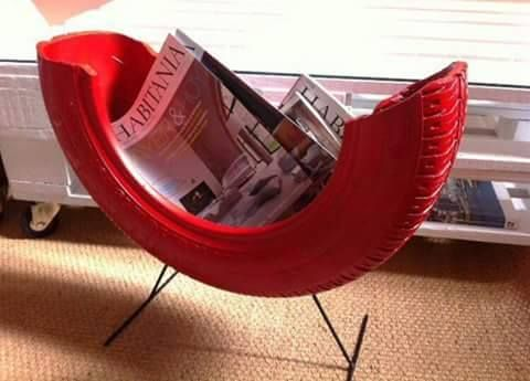 Magazine Rack · 15 Different Uses For Tires · Some easy ideas to recycle old tires · Via www.sweethings.net