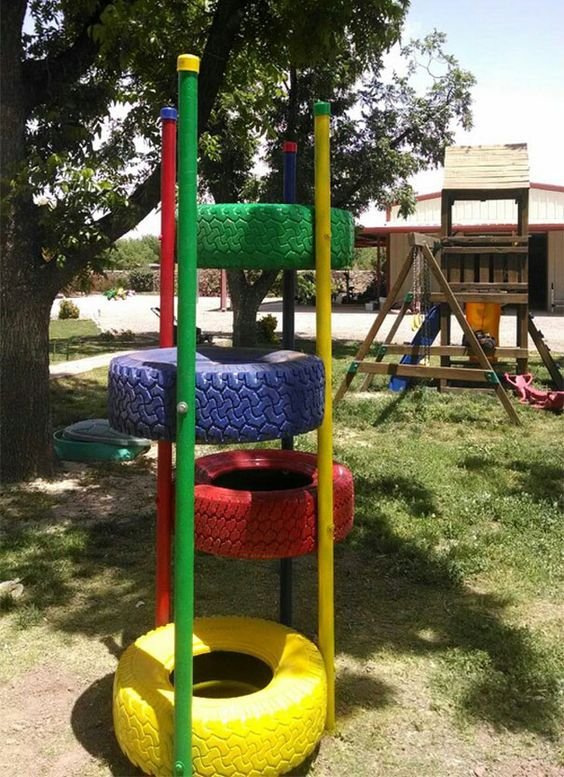 Playground · 15 Different Uses For Tires · Some easy ideas to recycle old tires · Via www.sweethings.net