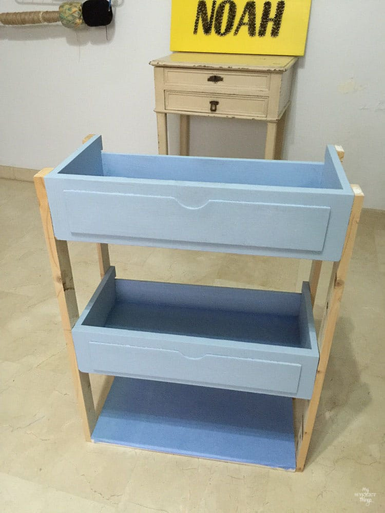 DIY Three tiered rolling cart out of two drawers, almost ready only missing the caster wheels · Via www.sweethings.net