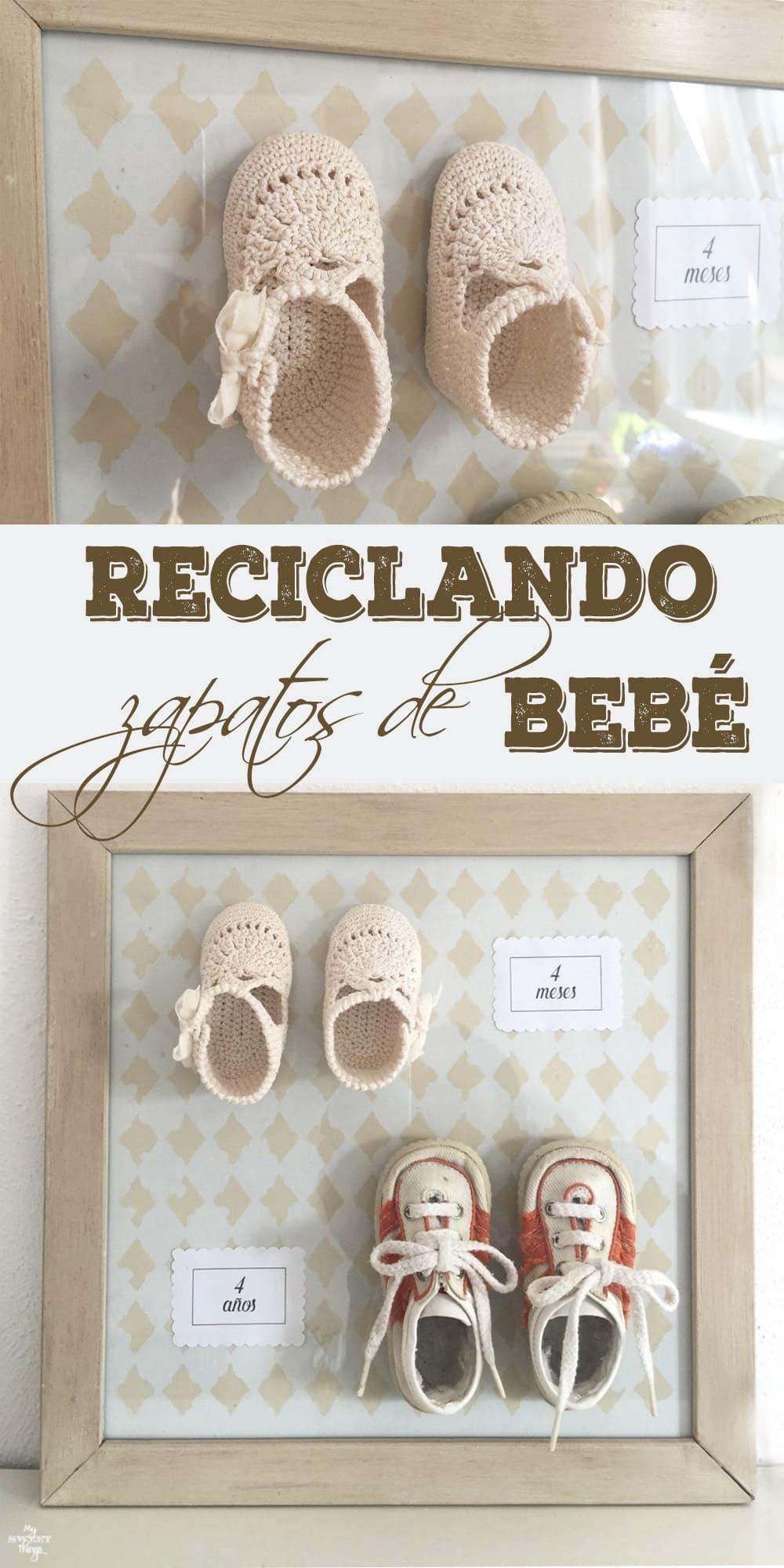 Reciclando unos zapatos de bebe con un marco de fotos  ·  Via www.sweethings.net