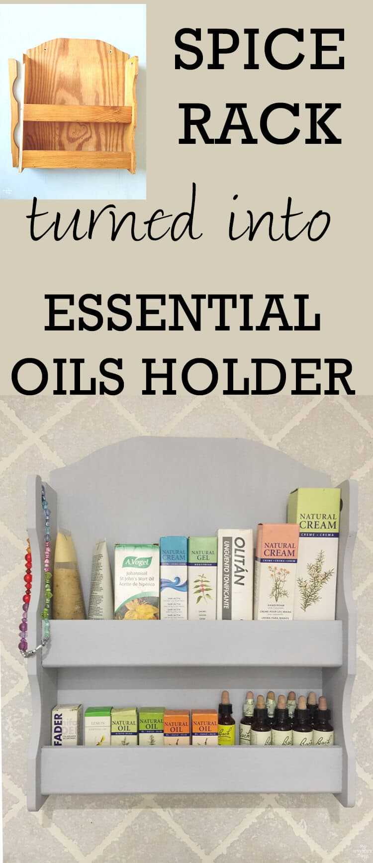 Spice rack turned into essential oils holder · Via www.sweethings.net
