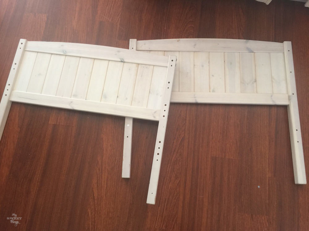 How to make twin benches out of two headboards, what I started with · Via www.sweethings.net