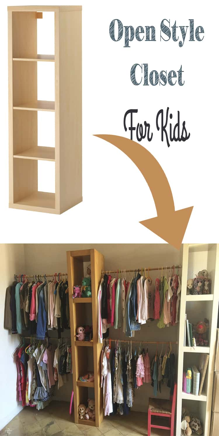 DIY open style closet for kids with Ikea shelves and rods · Via www.sweethings.net