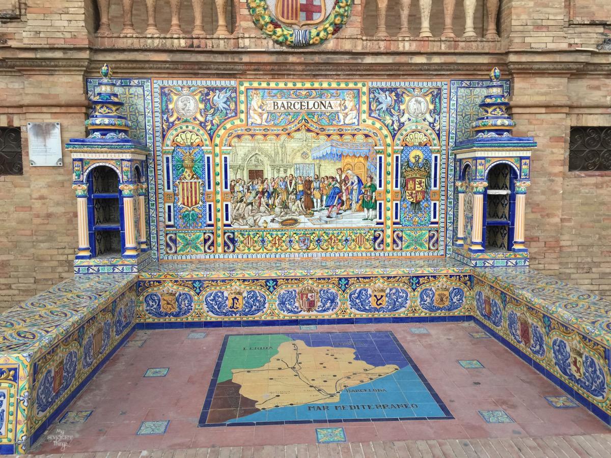 Viaje a Andalucía · Mosaicos Plaza de España, Sevilla · Via www.sweethings.net