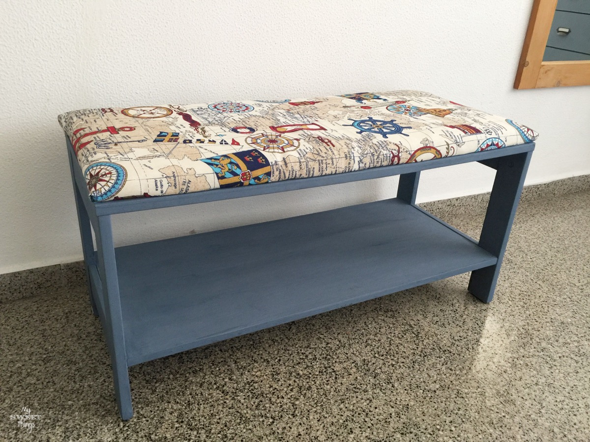 Nautical Upholstered Bench Coffee Table with Old Fashioned Milk Paint in Soldier Blue · Via www.sweethings.net #bench #nautical #coastal #upholster #makeover #coffeetable