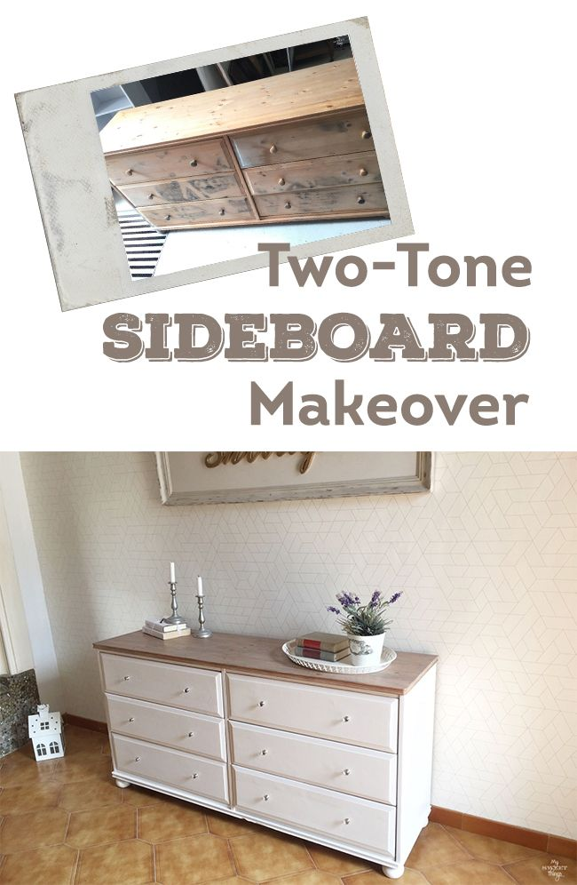 Two-tone sideboard makeover · Walnut and off white · Via www.sweethings.net #two-tone #dresser #makeover #furniture PIN
