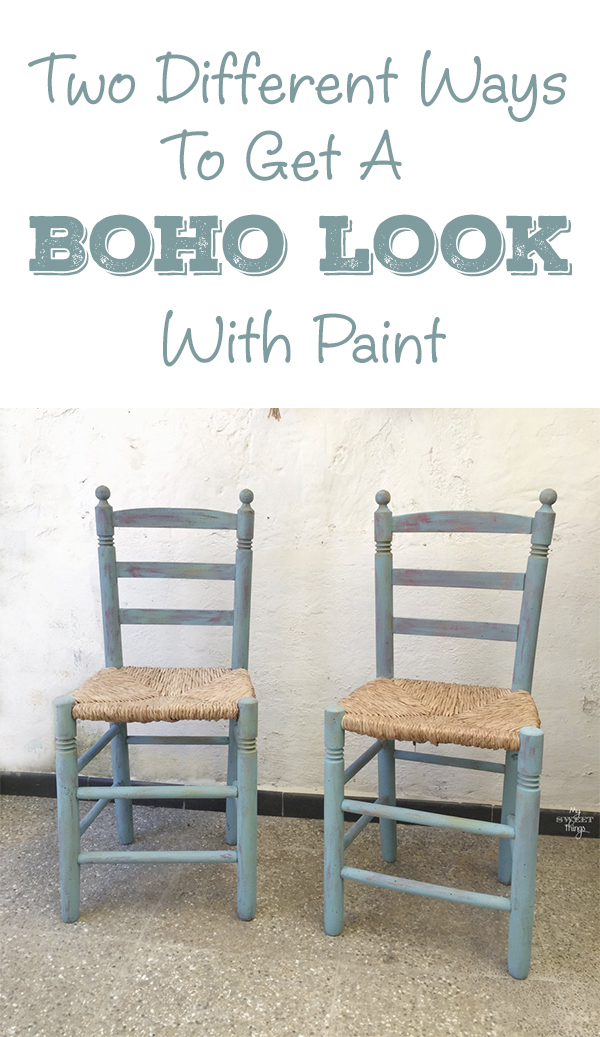 Two different ways to get that boho look with paint · Pair of boho style chairs · Via www.sweethings.net