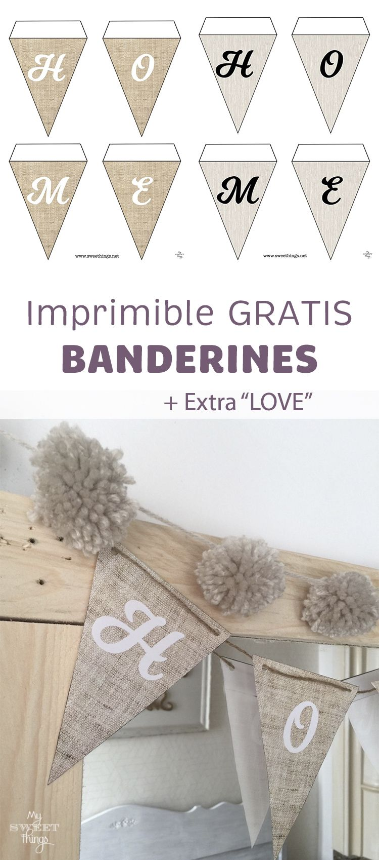 Decoración low cost - banderines decorativos de papel para imprimir · Via www.sweethings.net