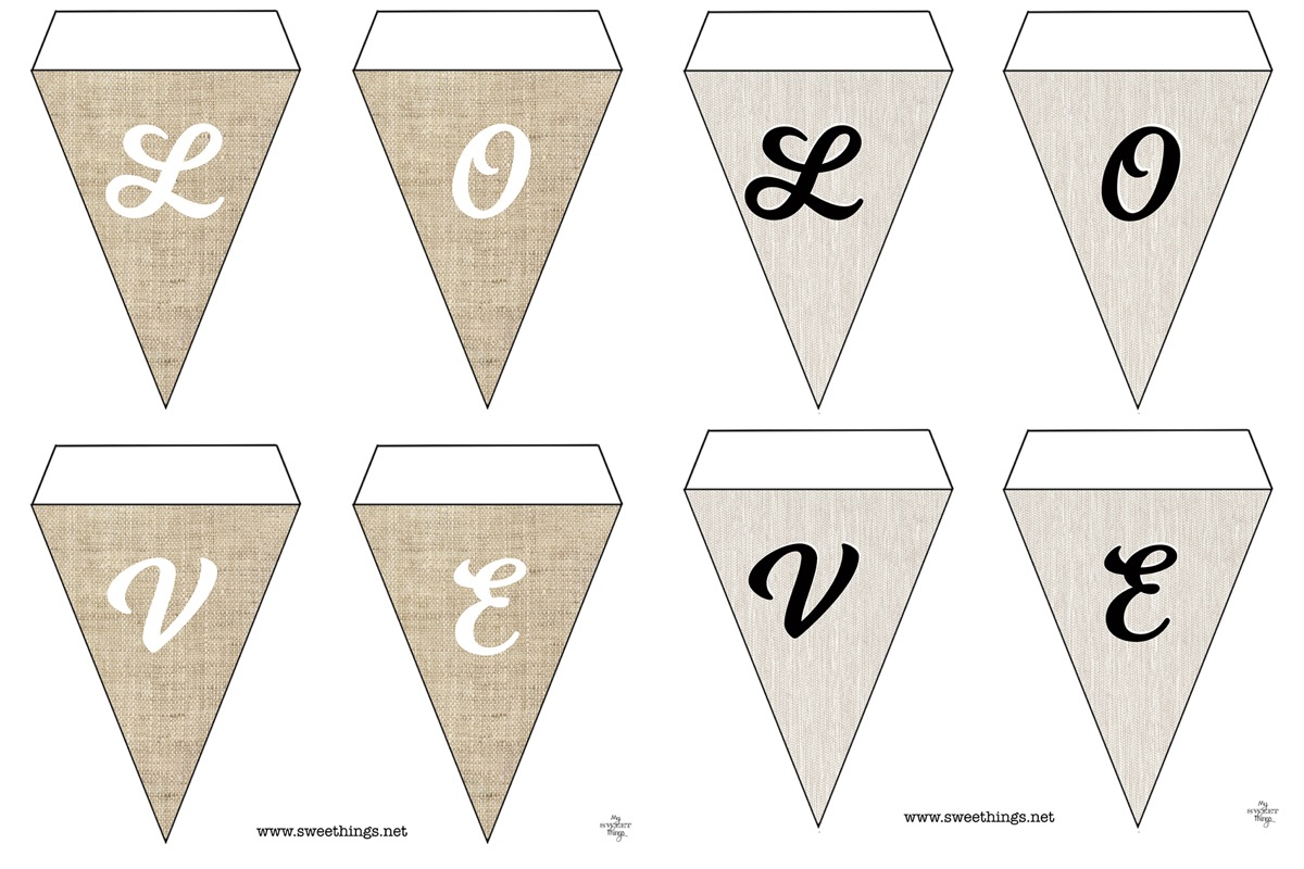 Home Decor - Paper Pennant Banner Garland · Free pennant banner printable · Farmhouse style · Via www.sweethings.net