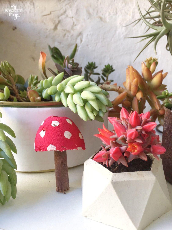 DIY Cement Mushrooms ·· Via www.sweethings.net