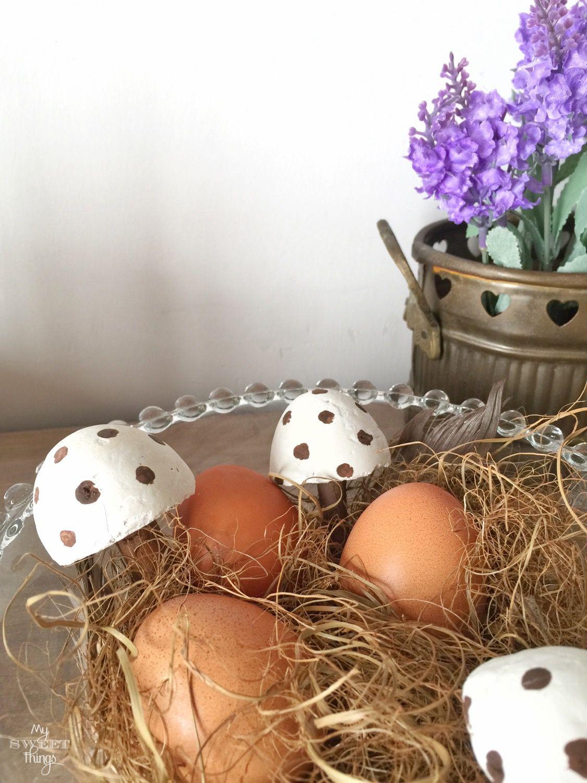 DIY Cement Mushrooms · Easter vignette · Via www.sweethings.net