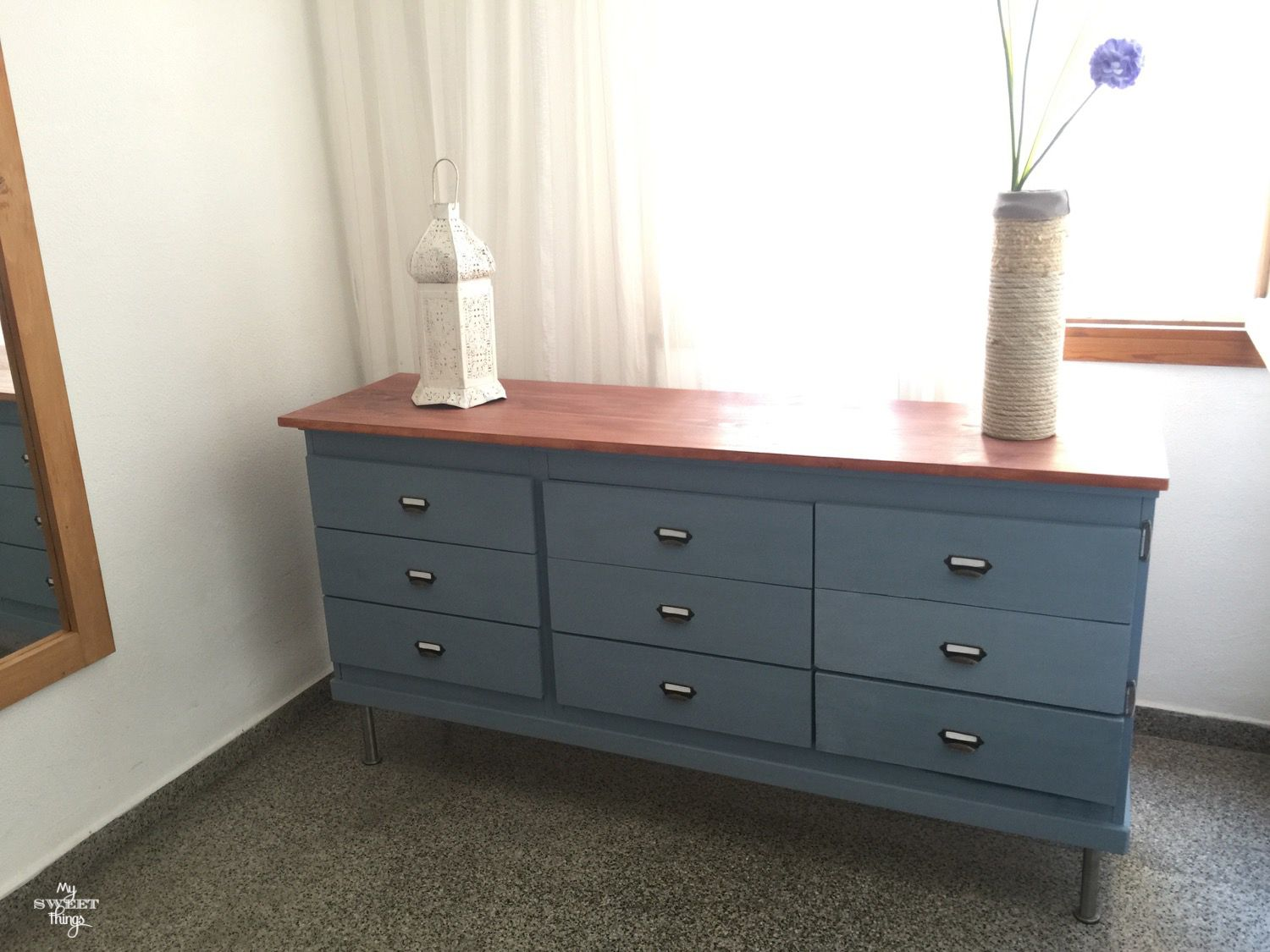 How To Upcycle Old Furniture · Room makeover ·  Federal Blue Milk Paint Dresser · Via www.sweethings.net
