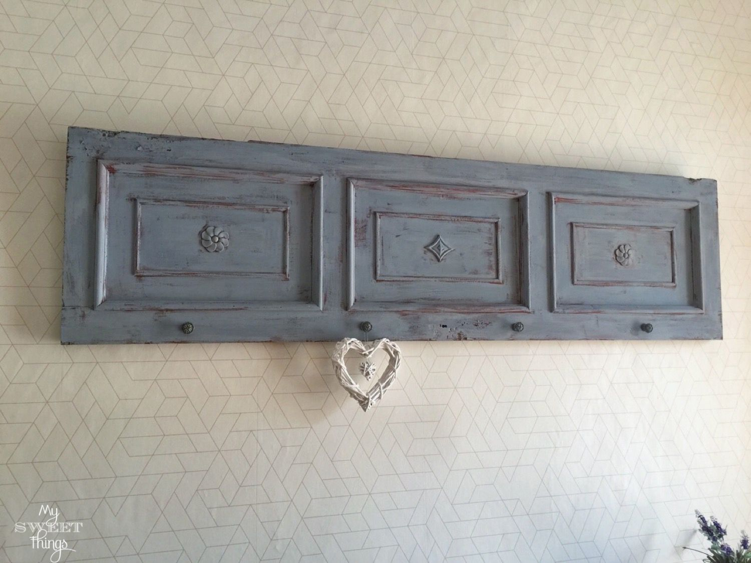 Old door idea - coat rack · Via www.sweethings.net