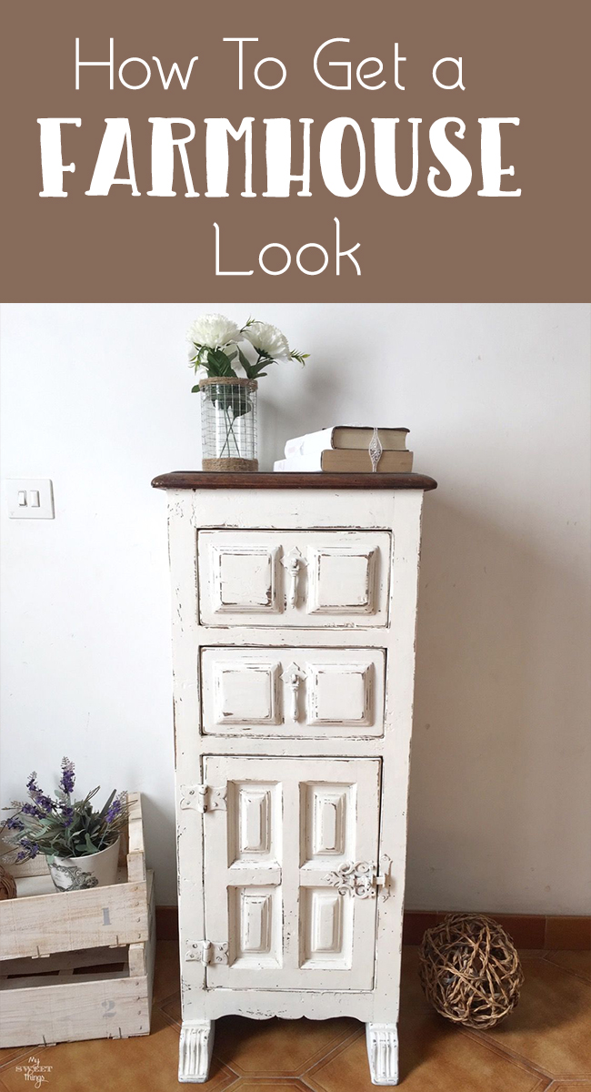 How to get a farmhouse look · Farmhouse style side table · Via www.sweethings.net