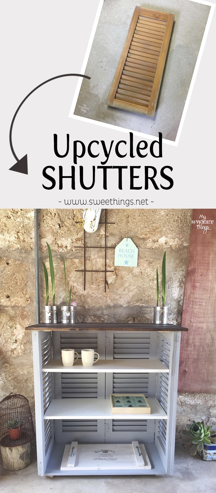 Upcycled shutters into an outdoor bar  ·  Via www.seethings.net