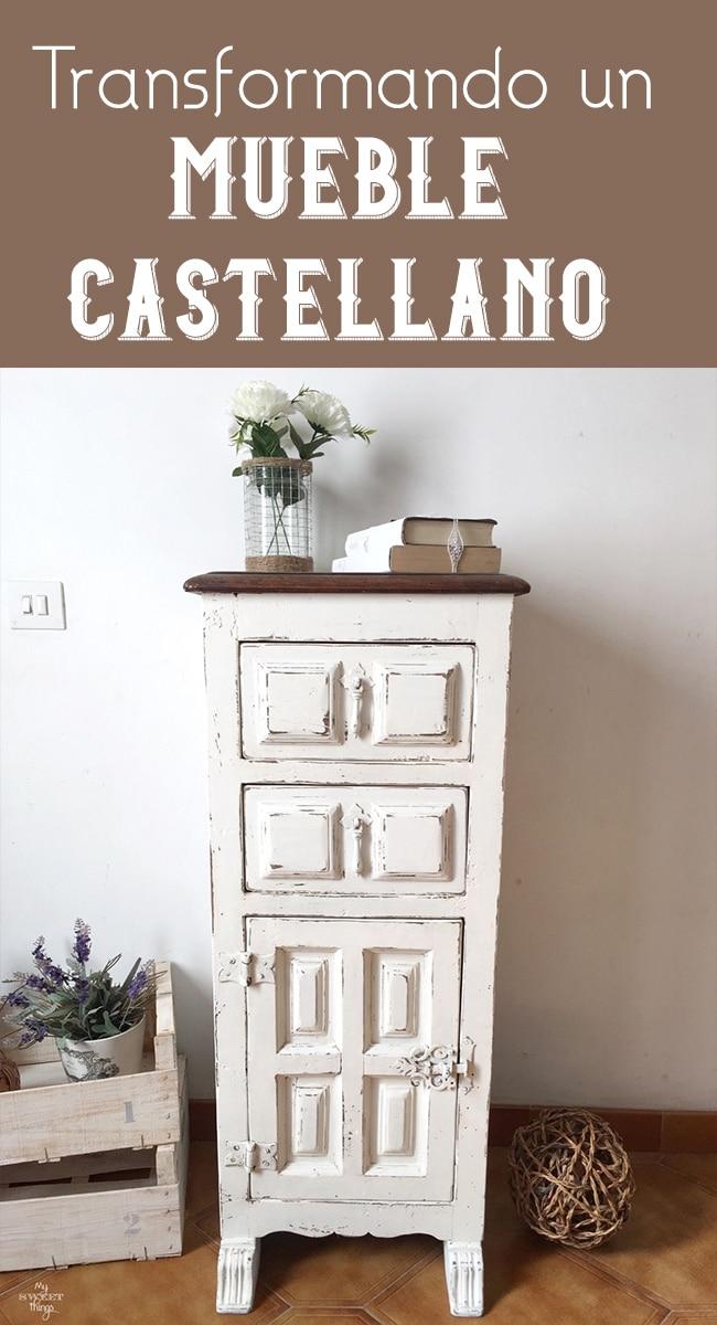 Mueble castellano transformado estilo shabby · Pintura y decapado con pintura a la tiza casera · Via www.sweethings.net