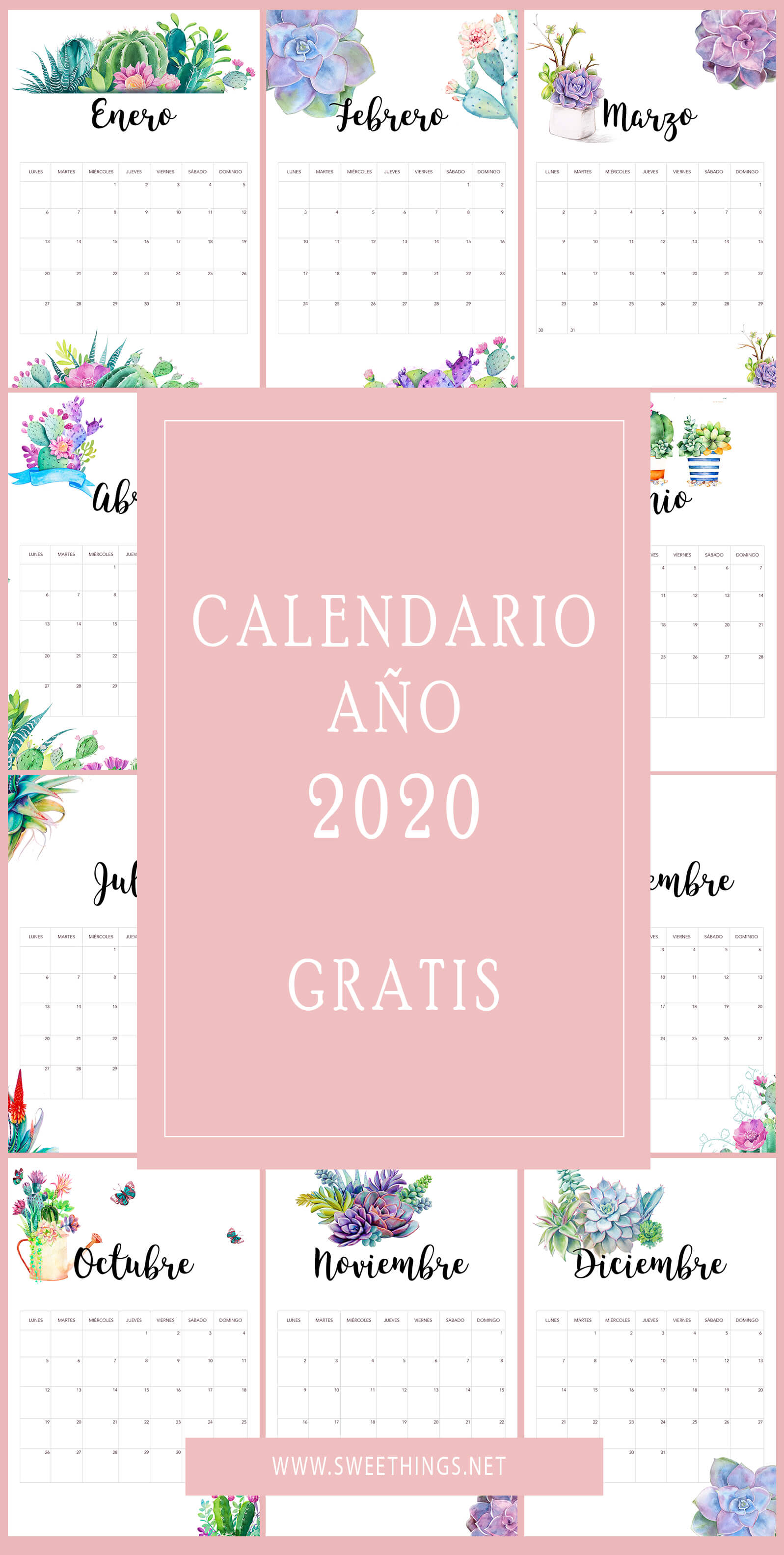 Calendario 2020 suculentas gratis para descargar · Via www.sweethings.net