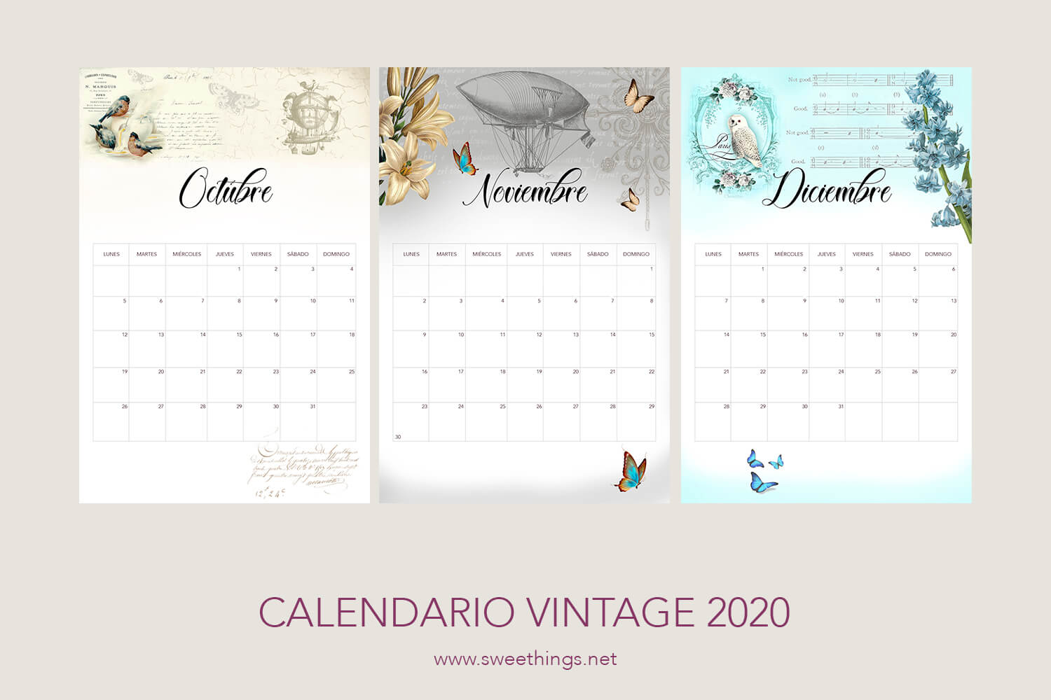 Calendarios 2020 gratis para descargar · Via www.sweethings.net