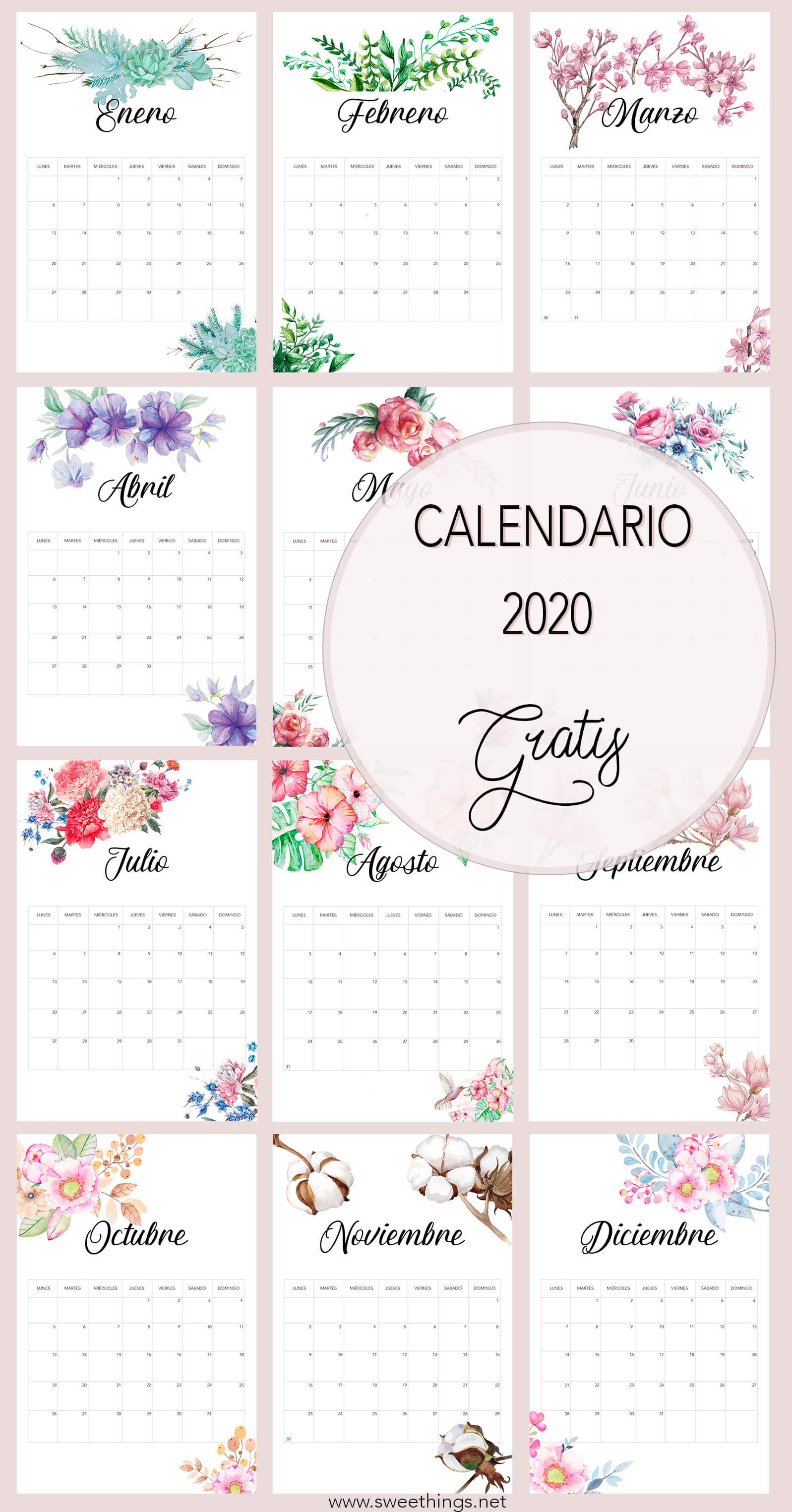 Calendario 2020 floral gratis para descargar · Via www.sweethings.net