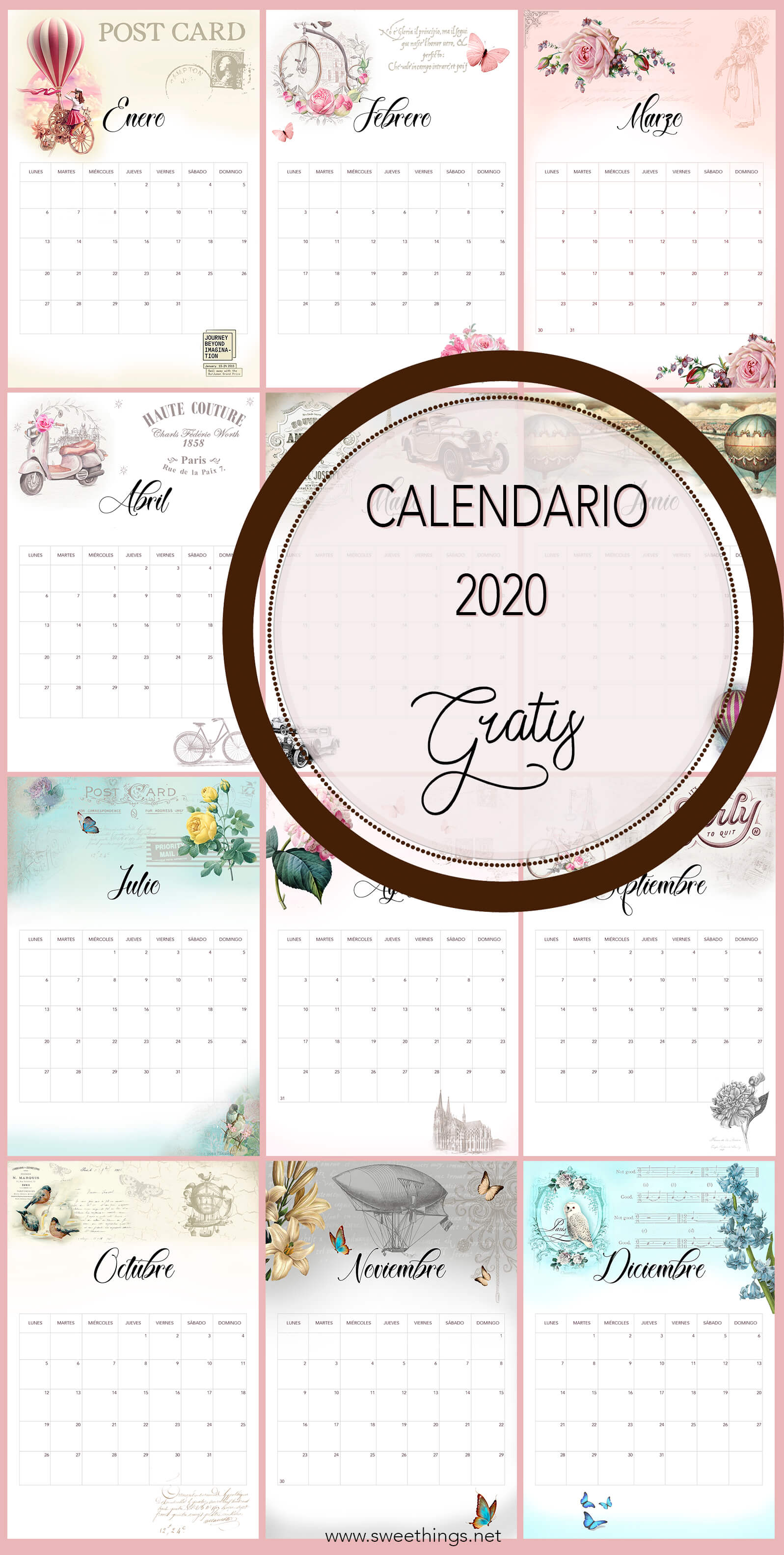 Calendario 2020 vintage gratis para descargar · Via www.sweethings.net