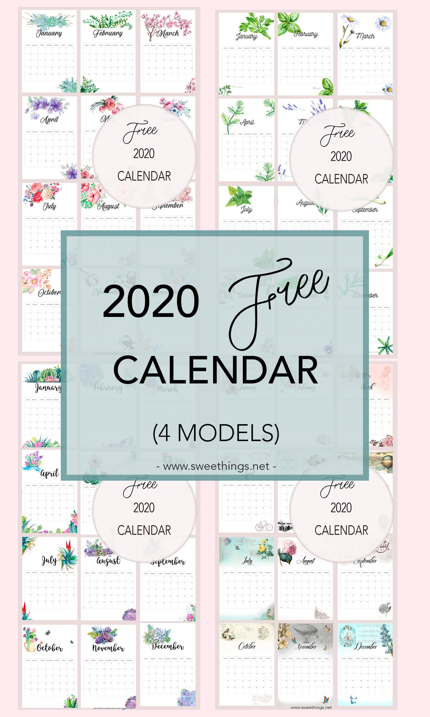 Free 2020 calendar · Via www.sweethings.net
