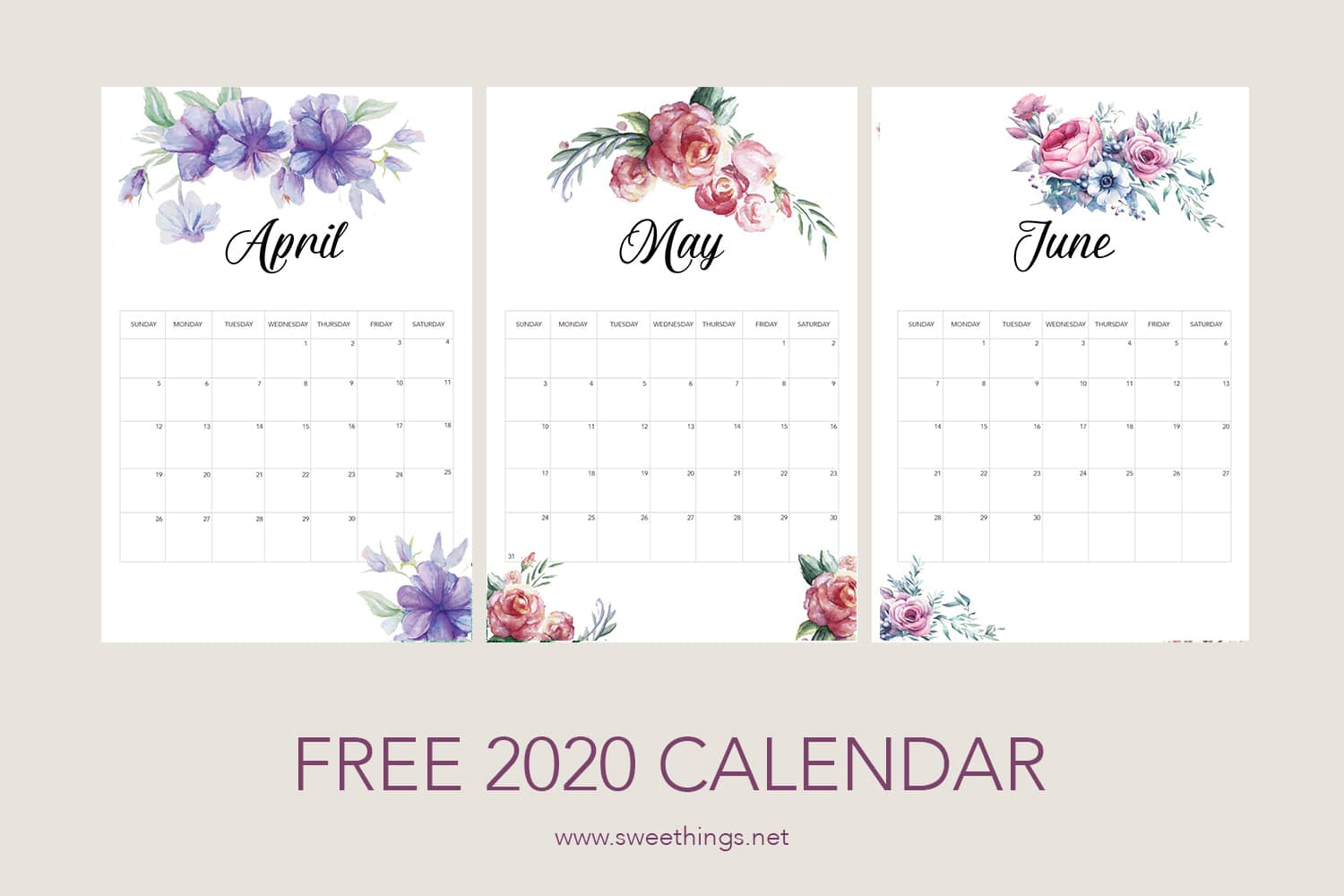 April to June 2020 calendar · Via www.sweethings.net