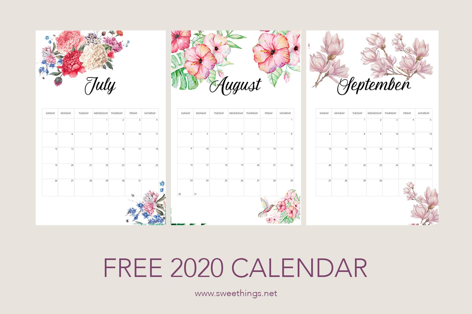 July to September 2020 calendar · Via www.sweethings.net